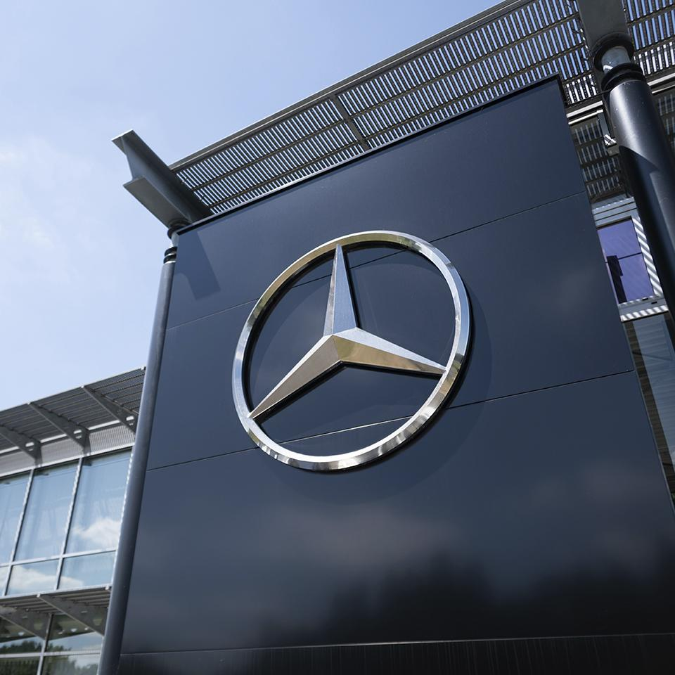 Mercedes Benz logo deployed on a dealership by Visotec