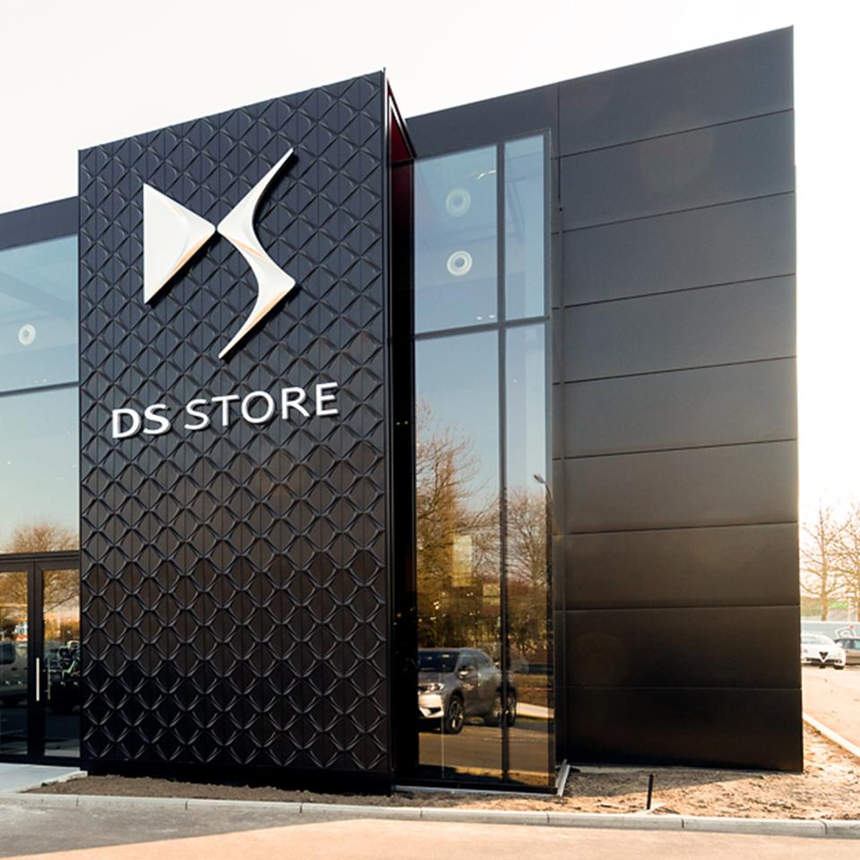 DS Automobiles DS Store wall totem produced and deployed by Visotec