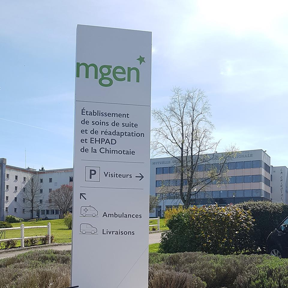 MGEN Care Centre directional totem by Visotec