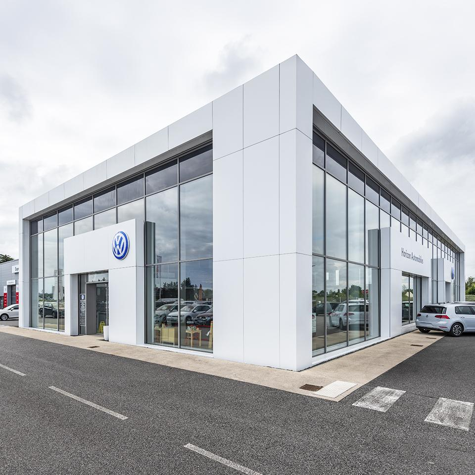 Architectural cladding for Volkswagen dealership by Visotec